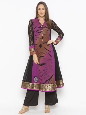 Purple Embroidered Georgette Party Wear Kurtis