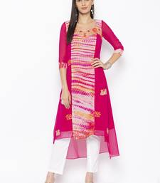 Pink embroidered georgette party-wear-kurtis