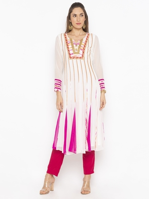 Off White Embroidered Georgette Party Wear Kurtis