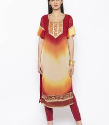 Maroon embroidered georgette party-wear-kurtis