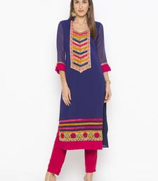 Dark Blue Embroidered Georgette Party Wear Kurtis