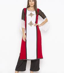 Off-white embroidered georgette party-wear-kurtis