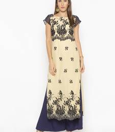 Beige embroidered net party-wear-kurtis