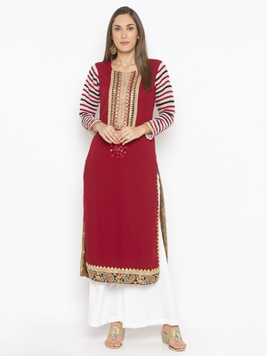 Maroon Embroidered Georgette Party Wear Kurtis