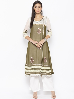 Green Embroidered Georgette Party Wear Kurtis
