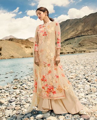 Cream embroidered faux georgette salwar