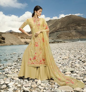 Light-yellow embroidered faux georgette salwar