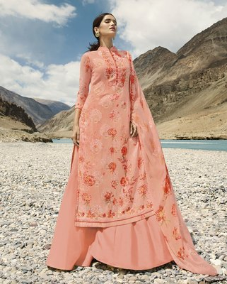 Baby-pink embroidered faux georgette salwar
