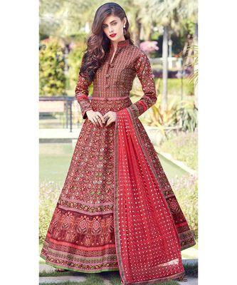 Partywear Designer Red Heavy Soft Killer Silk Salwar Suit