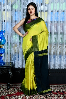 Light yellow hand woven blended cotton saree with blouse