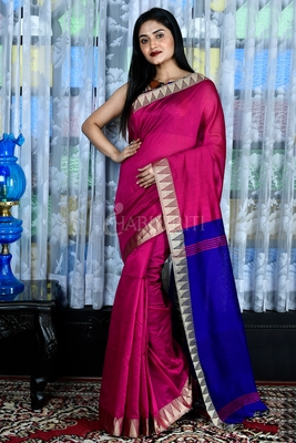 LIGHT MAGENTA BLENDED COTTON SAREE WITH TEMPLE BORDER