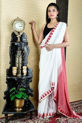 MILK WHITE PURE COTTON SAREE WITH ALL OVER WEAVING AND RED TEMPLE BORDER