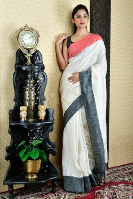 WHITE PURE COTTON SAREE WITH DUAL BORDER AND ZARI PALLU