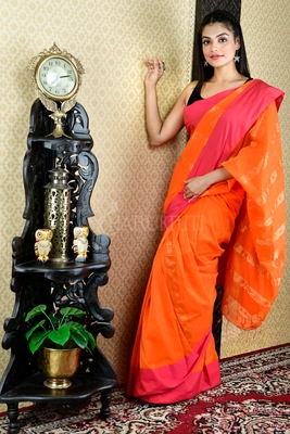 SALAMANDER ORANGE PURE COTTON SAREE WITH PINK BORDER AND ZARI PALLU