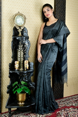 STEEL GREY BLENDED MATKA WITH BLACK JAAL CUT EMBROIDERY