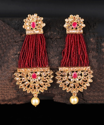 Red Beaded Traditional Design  Earrings