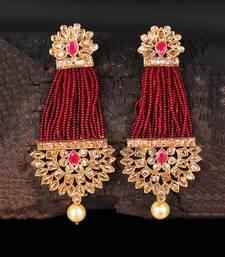 Red Beaded Traditional Design  Earrings