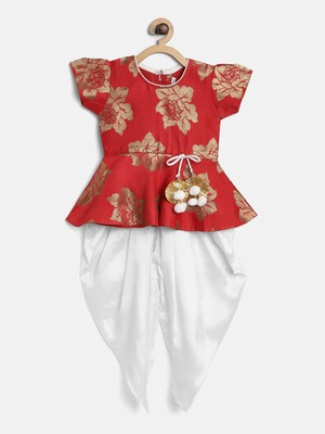 Red Silk Jacquard Peplum Top With Dhoti Set For Baby Girl
