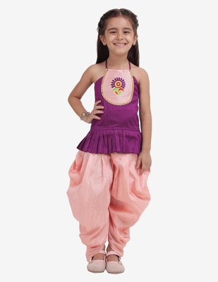 Purple Embroidered Top with Dhoti for girls