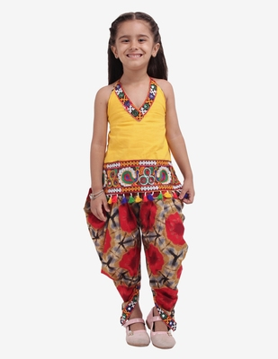 yellow Shibori Embroidered Top Dhoti For Baby Girl-Yellow