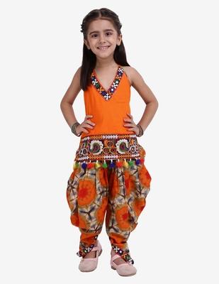 orange Shibori Embroidered Top Dhoti For Baby Girl-Orange