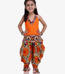 orange Shibori Embroidered Top Dhoti For Baby Girl-Orange