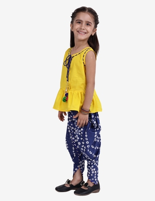 Yellow Jaipuri Print Cotton Dhoti Top For Girls
