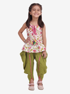 multicolor Jaipuri Print Pure Cotton Dhoti Top for Girls