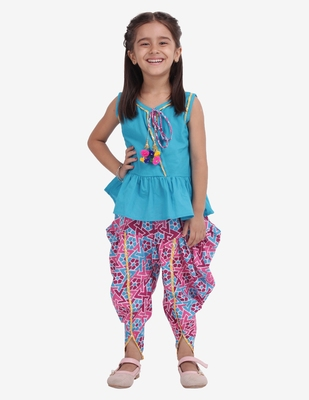 Blue Jaipuri Print Pure Cotton Dhoti Top For Baby Girls