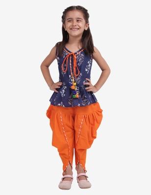 Blue Jaipuri Print Cotton Dhoti Top For Girls