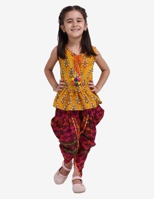 Yellow Jaipuri Print Pure Cotton Dhoti Top For Baby Girls Yellow