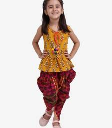 Yellow Jaipuri Print Pure Cotton Dhoti Top For Baby Girls Yellow
