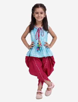 Blue Jaipuri Print Cotton Dhoti Top For Baby Girls