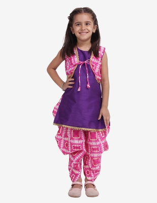purple Attached Jacket Kurti Dhoti For Baby Girls- Pink