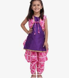 Purple Attached Jacket Kurti Dhoti For Baby Girls  Pink