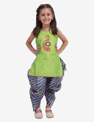 Yellow Hand Embroidery Kurti Dhoti For Girls  Yellow