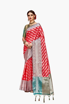 Red woven faux kanjivaram silk saree with blouse