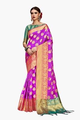 Pink woven faux kanjivaram silk saree with blouse