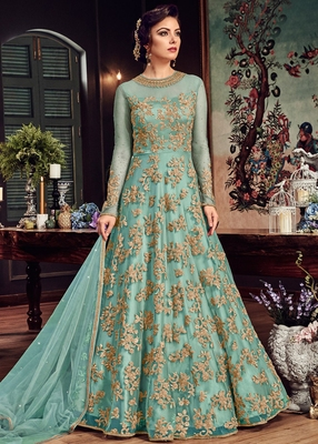 Sky-blue embroidered net anarkali suit