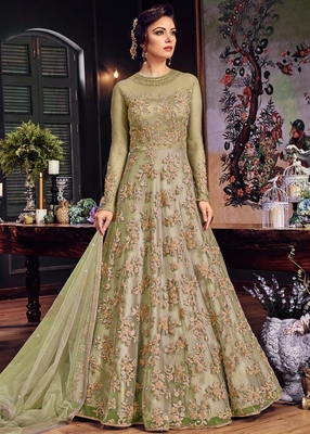 Sea-green embroidered net salwar