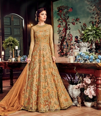 Bronze embroidered net anarkali