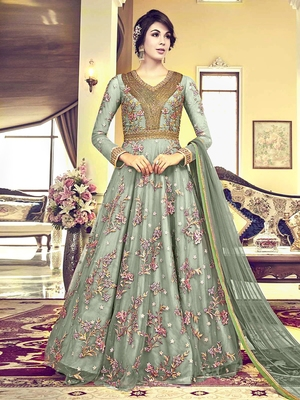 Light-teal embroidered net salwar