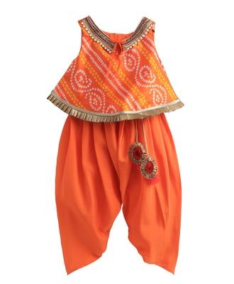 orange Bandhej lace work top with matching dhoti with latkans.
