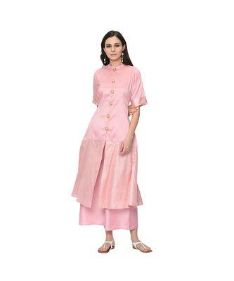 Women's Pink Foil Print Flared Polysilk Kurta Palazzo Set