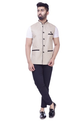 Beige Solid Jute Sleeveless Modi Jacket