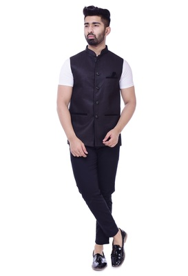 Black Solid Jute Sleeveless Modi Jacket
