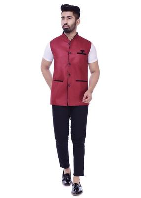 Maroon Solid Jute Sleeveless Modi Jacket