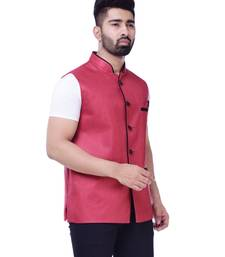 Red Solid Jute Sleeveless Modi Jacket