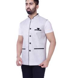White Solid Jute Sleeveless Modi Jacket