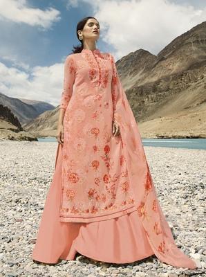 Baby-pink digital print pure georgette salwar